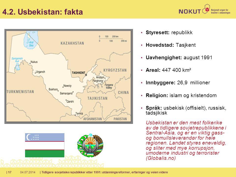 4.2. Usbekistan: fakta Styresett: republikk Hovedstad: Tasjkent