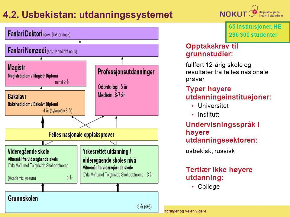 4.2. Usbekistan: utdanningssystemet