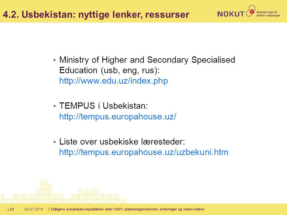 4.2. Usbekistan: nyttige lenker, ressurser