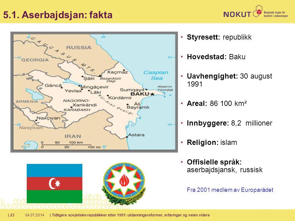 5.1. Aserbajdsjan: fakta Styresett: republikk Hovedstad: Baku