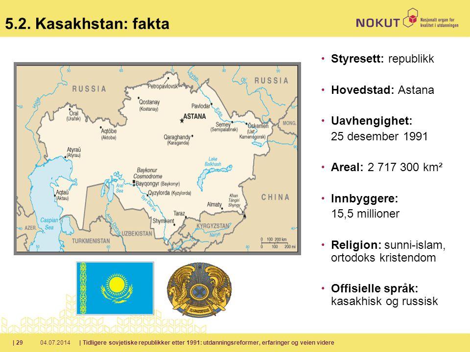 5.2. Kasakhstan: fakta Styresett: republikk Hovedstad: Astana