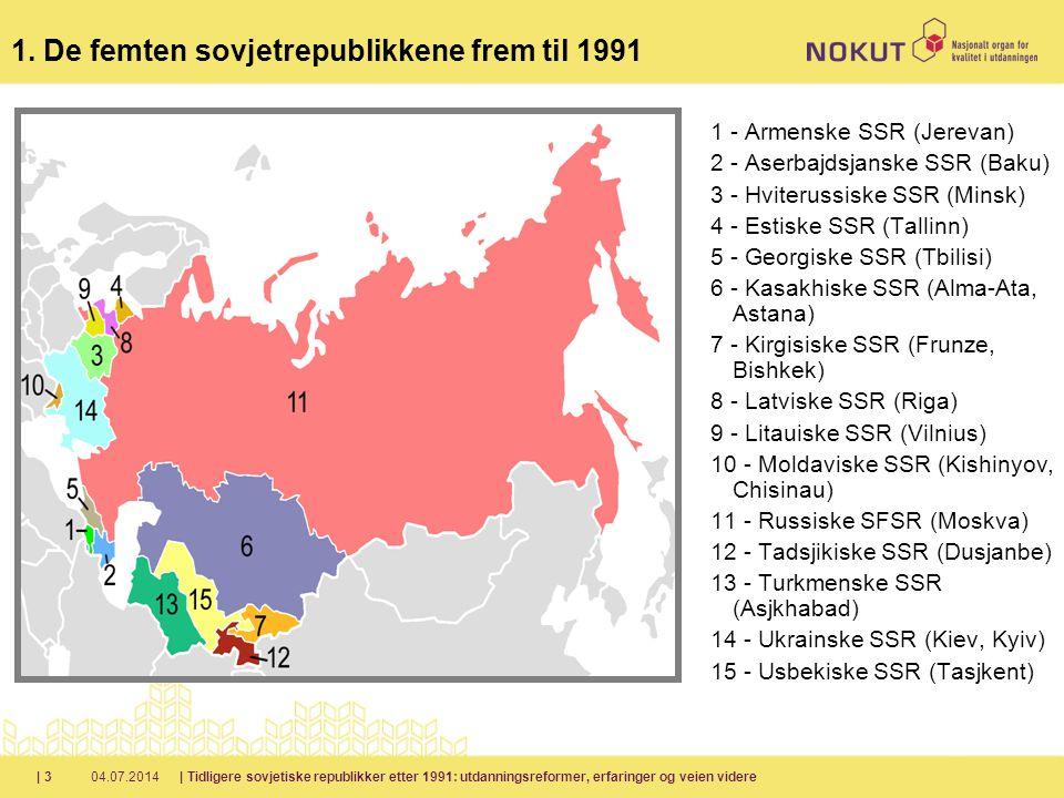 1. De femten sovjetrepublikkene frem til 1991