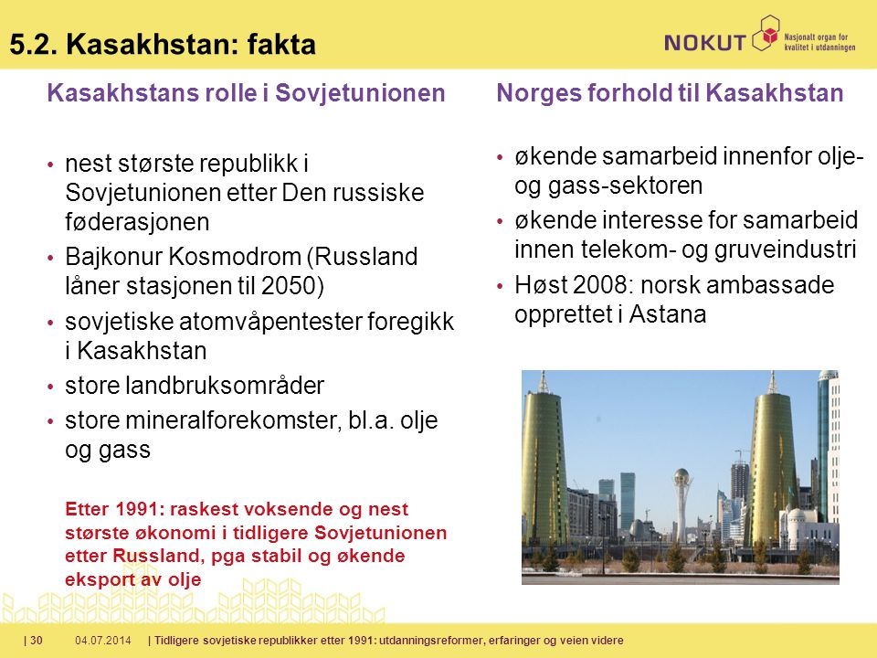 5.2. Kasakhstan: fakta Kasakhstans rolle i Sovjetunionen