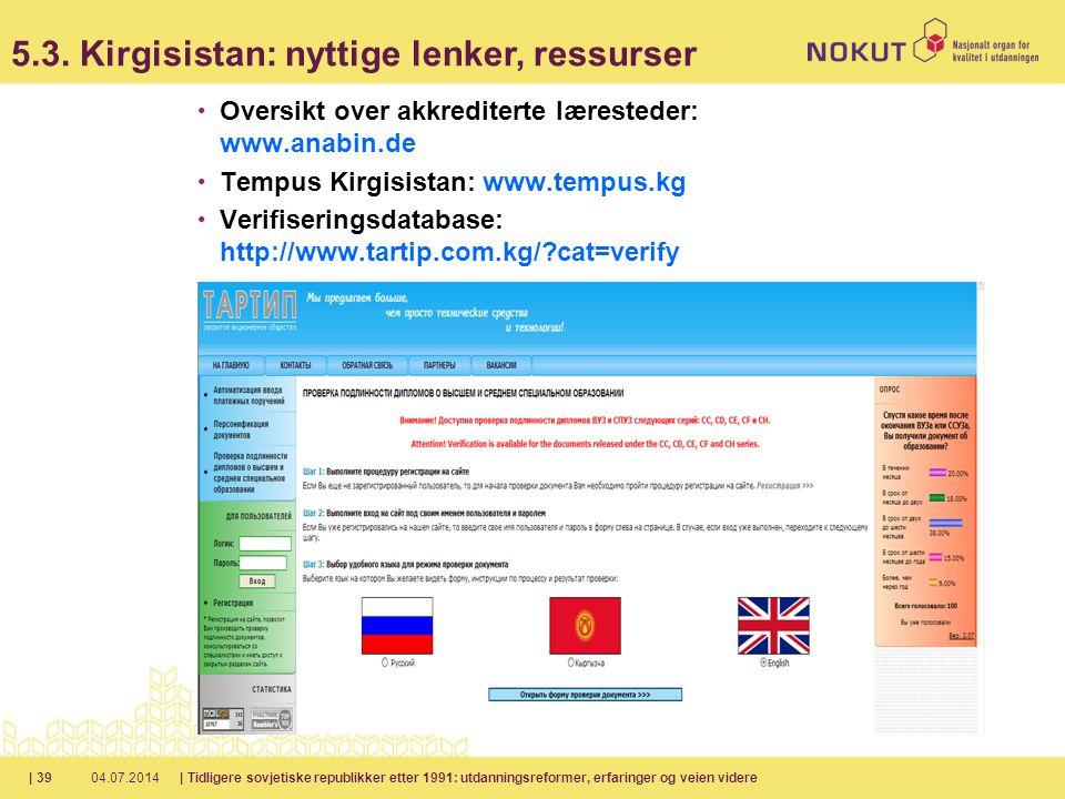 5.3. Kirgisistan: nyttige lenker, ressurser