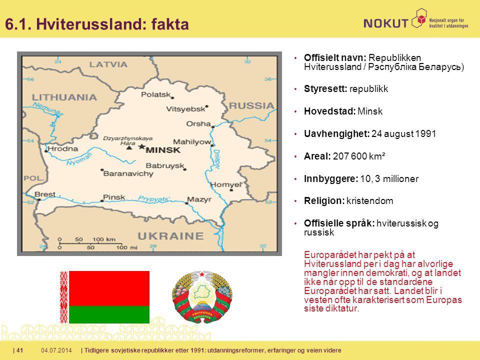 6.1. Hviterussland: fakta Offisielt navn: Republikken Hviterussland / Рэспубліка Беларусь) Styresett: republikk.