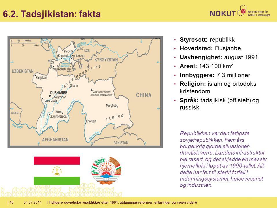 6.2. Tadsjikistan: fakta Styresett: republikk Hovedstad: Dusjanbe