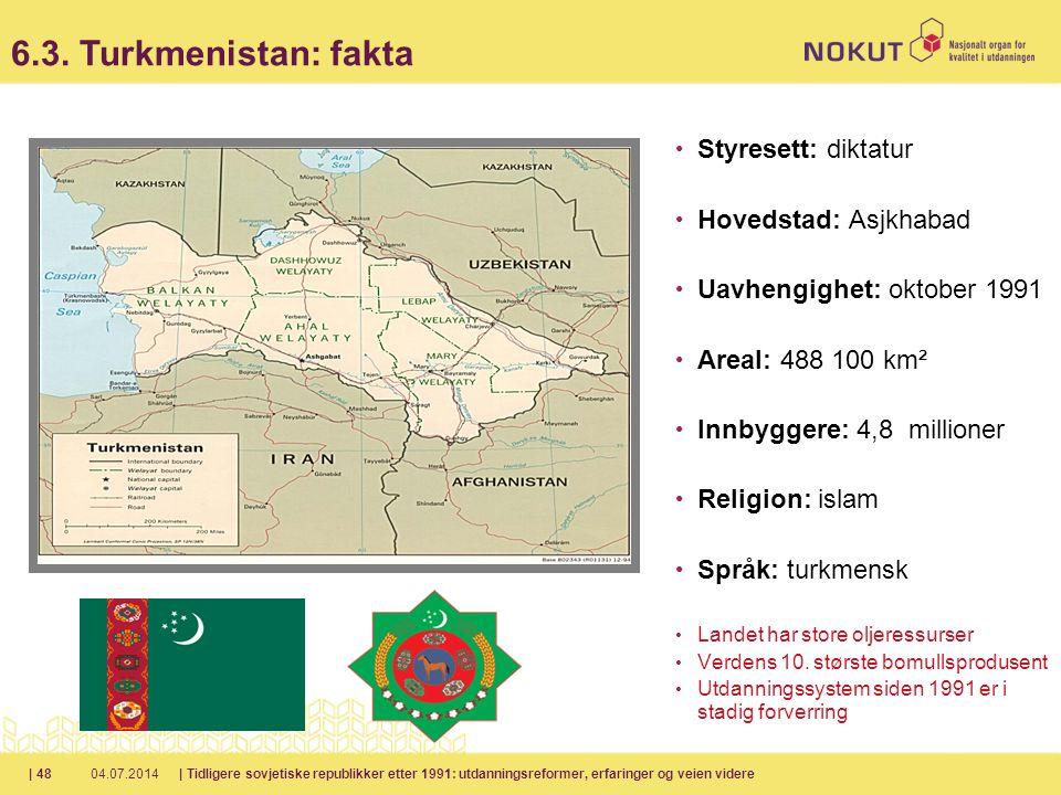 6.3. Turkmenistan: fakta Styresett: diktatur Hovedstad: Asjkhabad