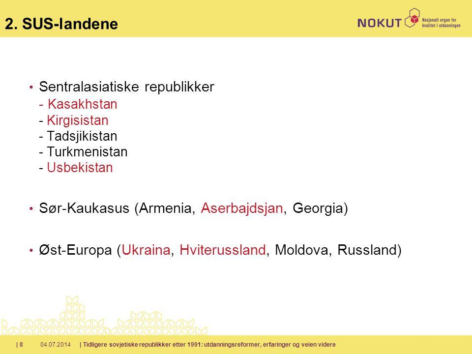2. SUS-landene Sentralasiatiske republikker - Kasakhstan - Kirgisistan - Tadsjikistan - Turkmenistan - Usbekistan.