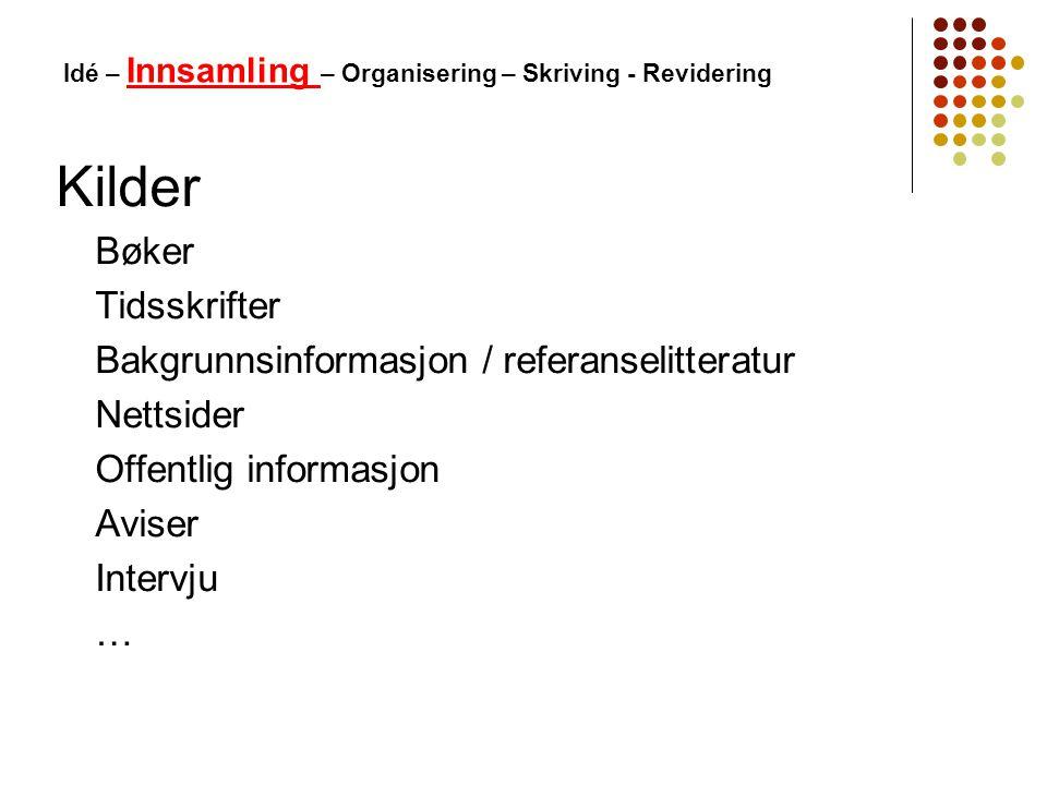Idé – Innsamling – Organisering – Skriving - Revidering