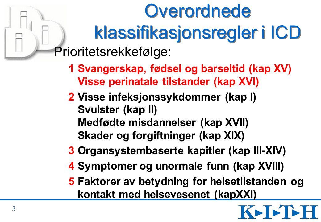 Overordnede klassifikasjonsregler i ICD