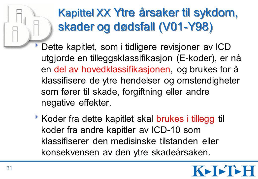 Kapittel XX Ytre årsaker til sykdom, skader og dødsfall (V01-Y98)