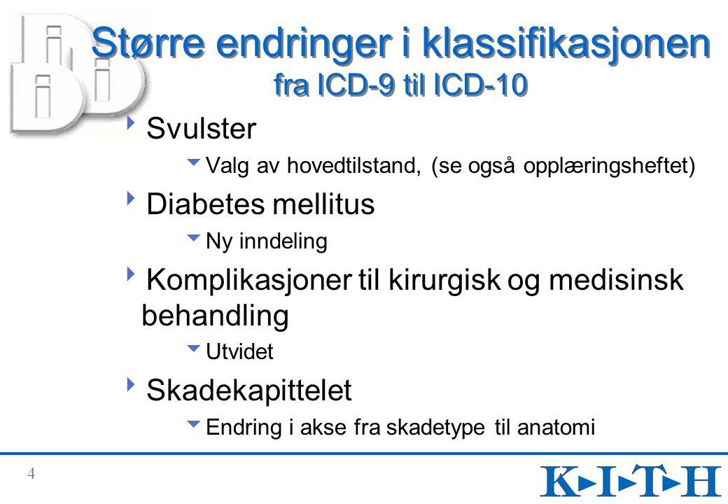 Større endringer i klassifikasjonen fra ICD-9 til ICD-10
