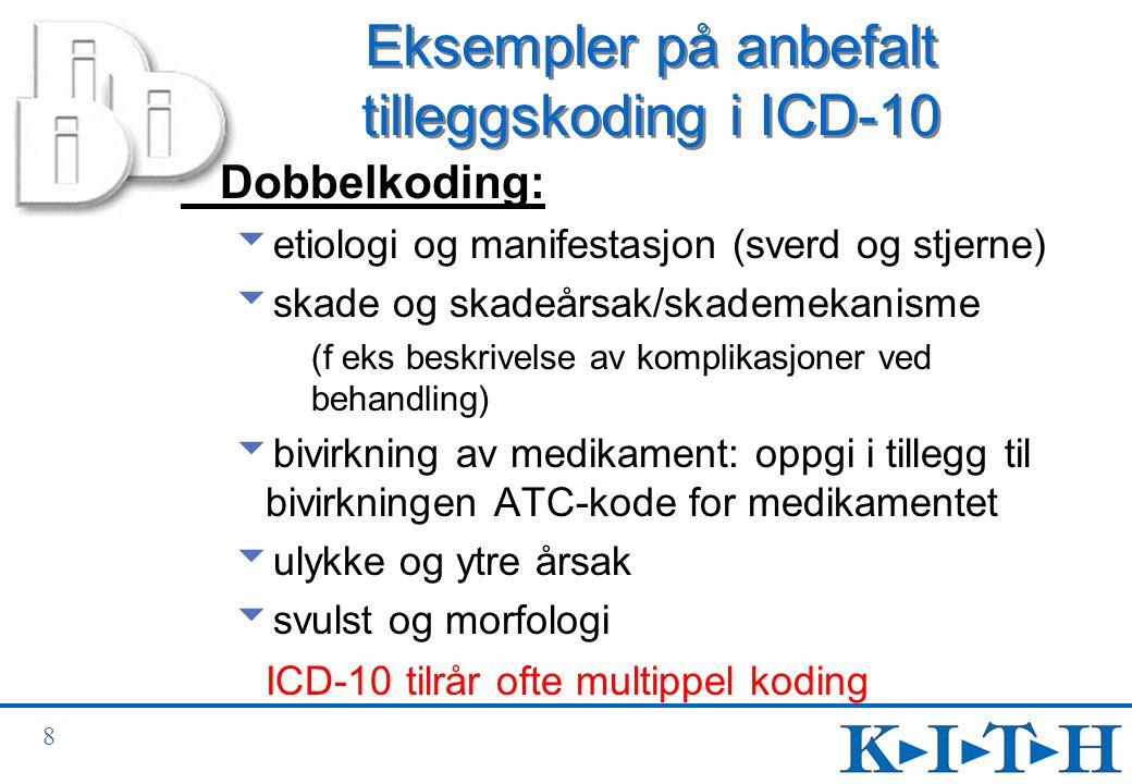 Eksempler på anbefalt tilleggskoding i ICD-10