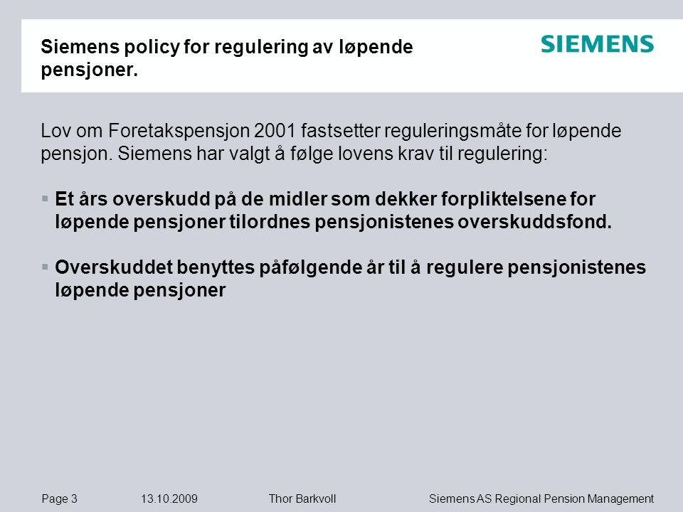 Siemens policy for regulering av løpende pensjoner.