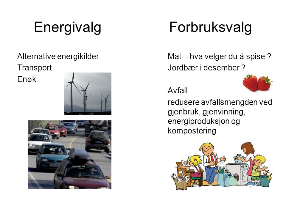 Energivalg Forbruksvalg Alternative energikilder Transport Enøk