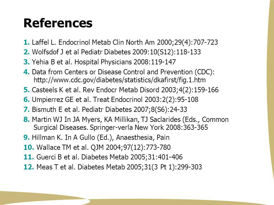 4/4/2017 References. 1. Laffel L. Endocrinol Metab Clin North Am 2000;29(4):707-723. 2. Wolfsdof J et al Pediatr Diabetes 2009:10(S12):118-133.