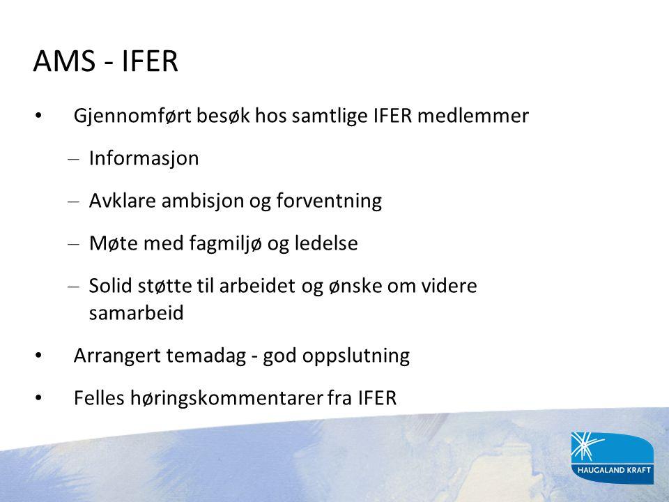 AMS - IFER Gjennomført besøk hos samtlige IFER medlemmer Informasjon
