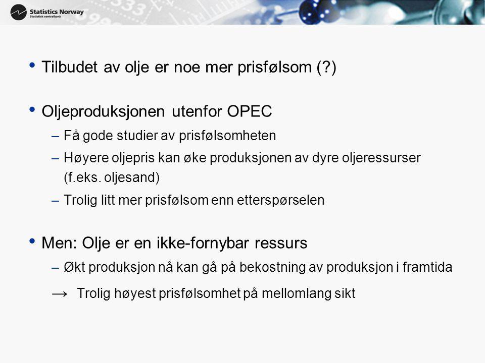 Tilbudet av olje er noe mer prisfølsom ( )