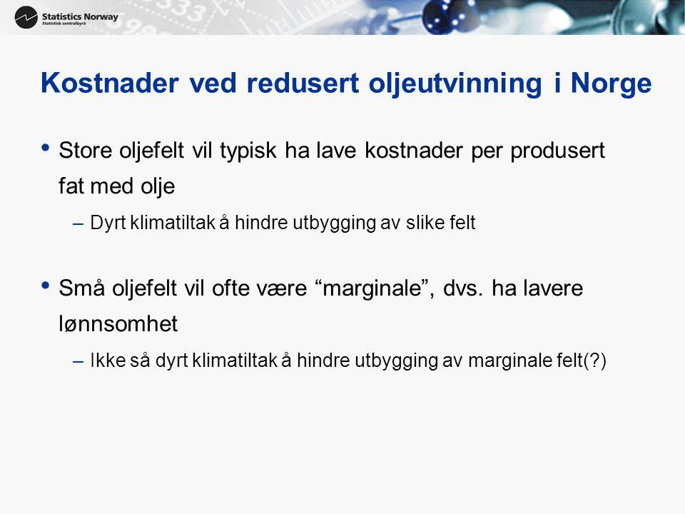Kostnader ved redusert oljeutvinning i Norge
