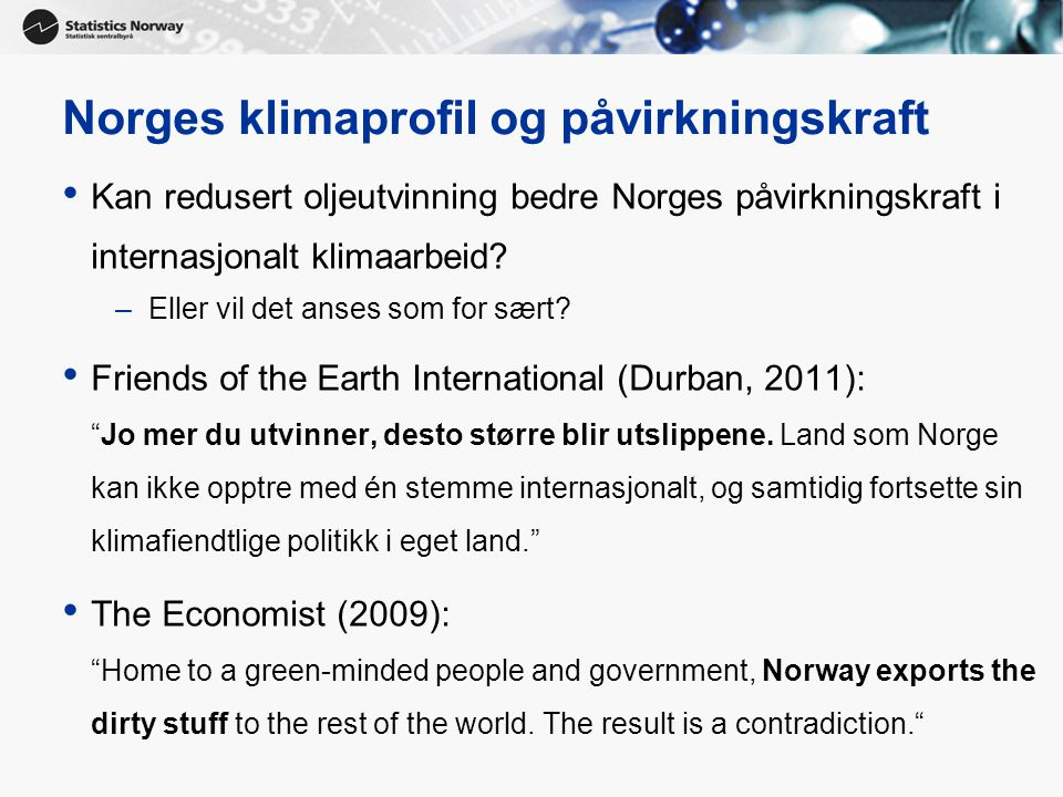 Norges klimaprofil og påvirkningskraft