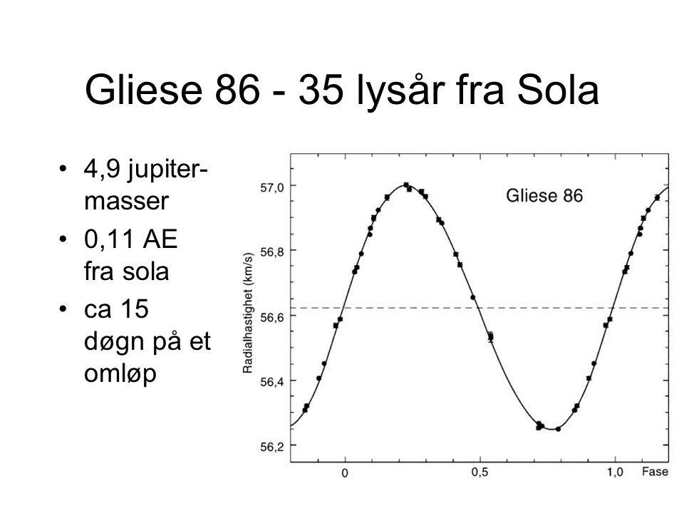 Gliese 86 - 35 lysår fra Sola 4,9 jupiter-masser 0,11 AE fra sola
