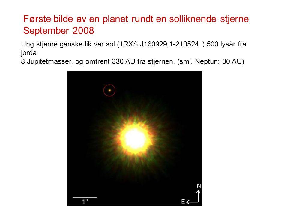 Første bilde av en planet rundt en solliknende stjerne September 2008