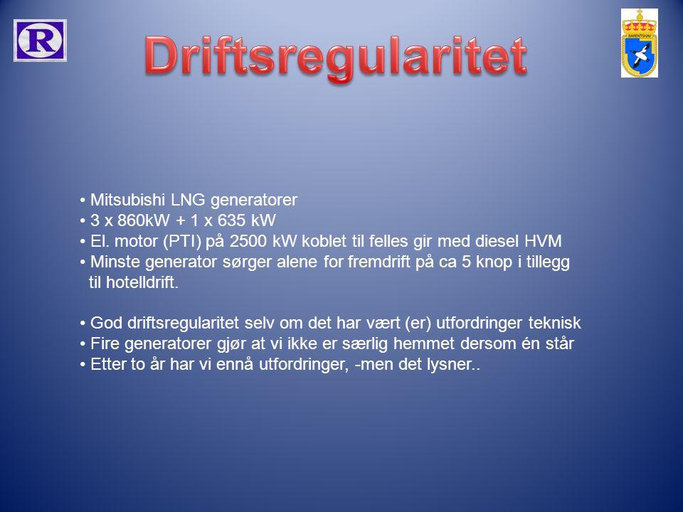 Driftsregularitet Mitsubishi LNG generatorer 3 x 860kW + 1 x 635 kW