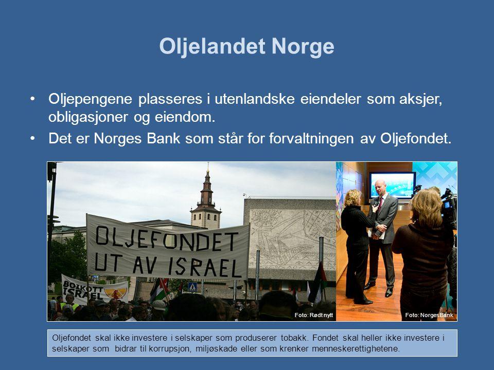 Oljelandet Norge Oljepengene plasseres i utenlandske eiendeler som aksjer, obligasjoner og eiendom.