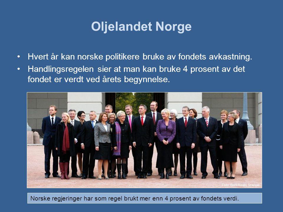 Oljelandet Norge Hvert år kan norske politikere bruke av fondets avkastning.