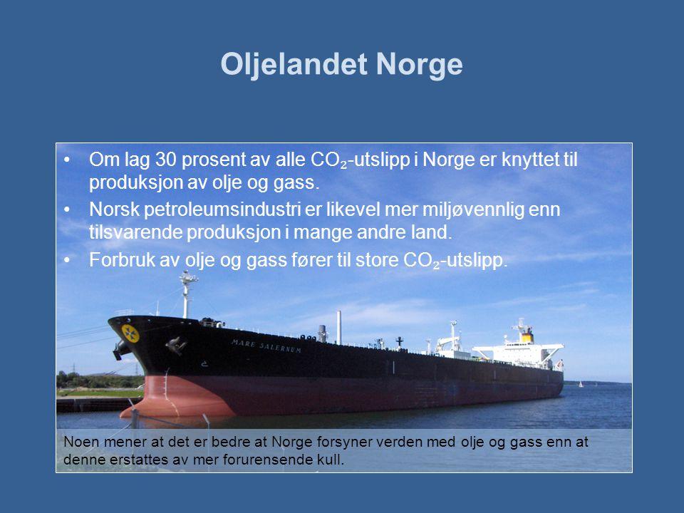 Oljelandet Norge Om lag 30 prosent av alle CO₂-utslipp i Norge er knyttet til produksjon av olje og gass.