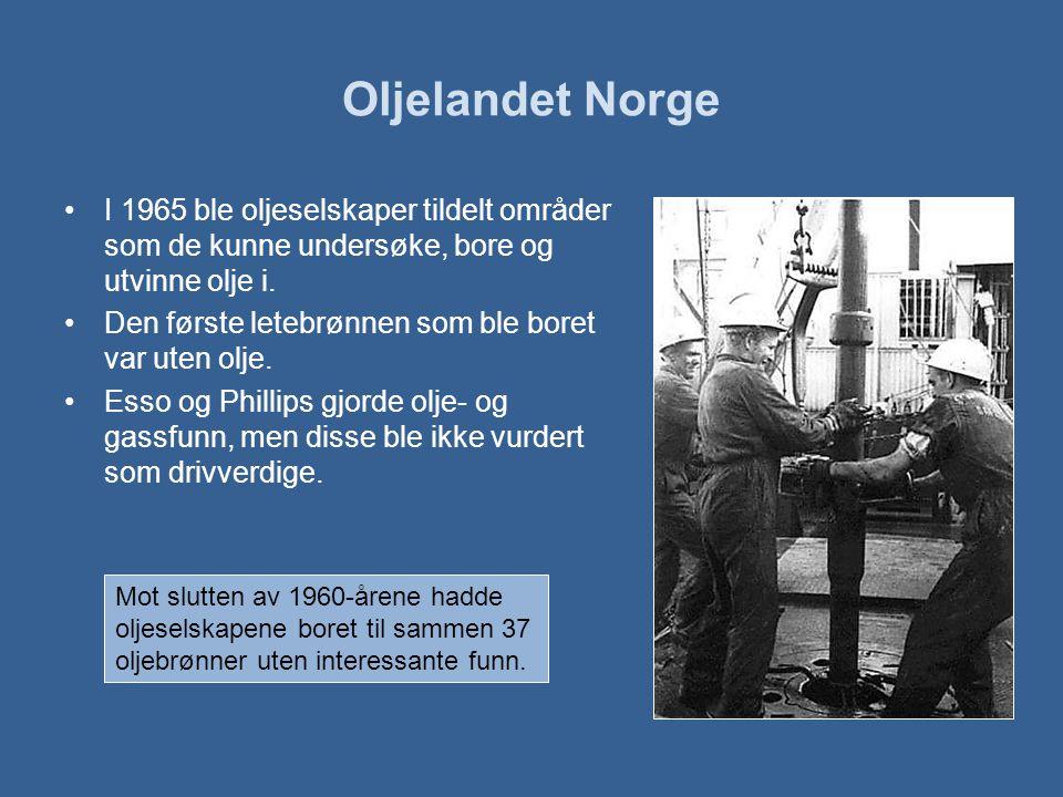 Oljelandet Norge I 1965 ble oljeselskaper tildelt områder som de kunne undersøke, bore og utvinne olje i.