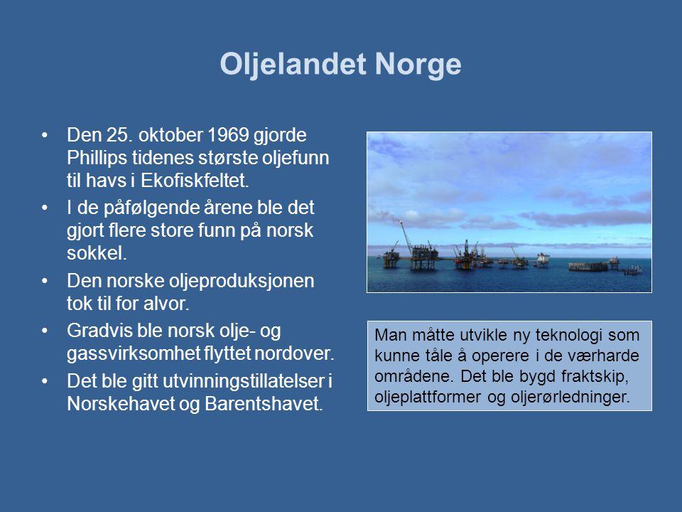 Oljelandet Norge Den 25. oktober 1969 gjorde Phillips tidenes største oljefunn til havs i Ekofiskfeltet.