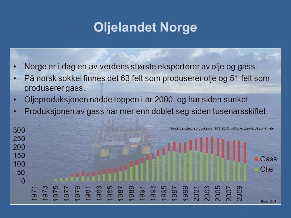 Oljelandet Norge Norge er i dag en av verdens største eksportører av olje og gass.