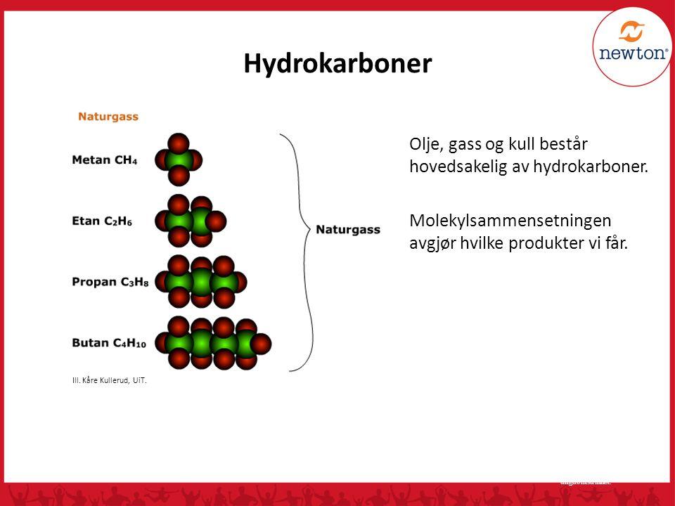 Hydrokarboner Olje, gass og kull består hovedsakelig av hydrokarboner.