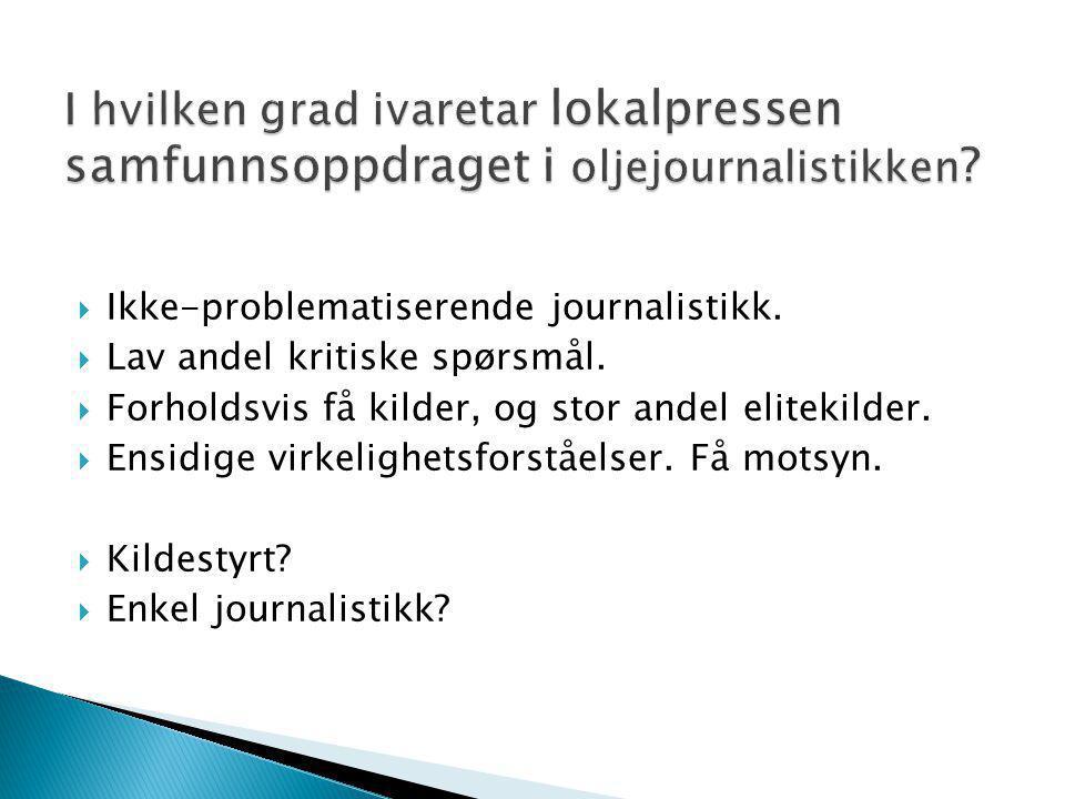 I hvilken grad ivaretar lokalpressen samfunnsoppdraget i oljejournalistikken