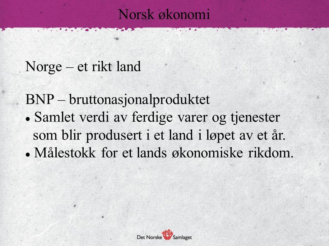 Norsk økonomi Norge – et rikt land. BNP – bruttonasjonalproduktet.