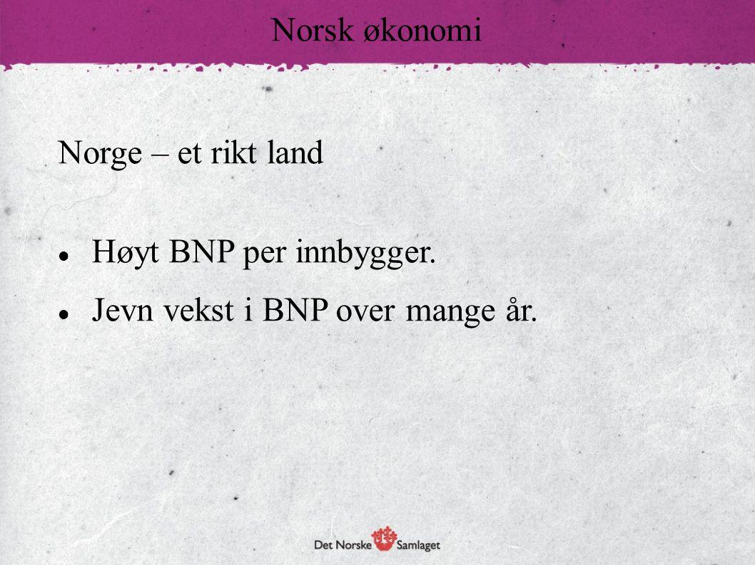 Norsk økonomi Norge – et rikt land Høyt BNP per innbygger. Jevn vekst i BNP over mange år.
