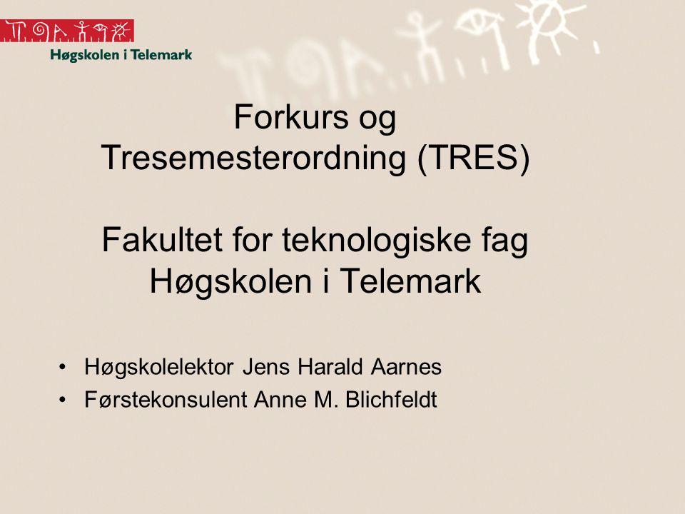 Forkurs og Tresemesterordning (TRES) Fakultet for teknologiske fag Høgskolen i Telemark