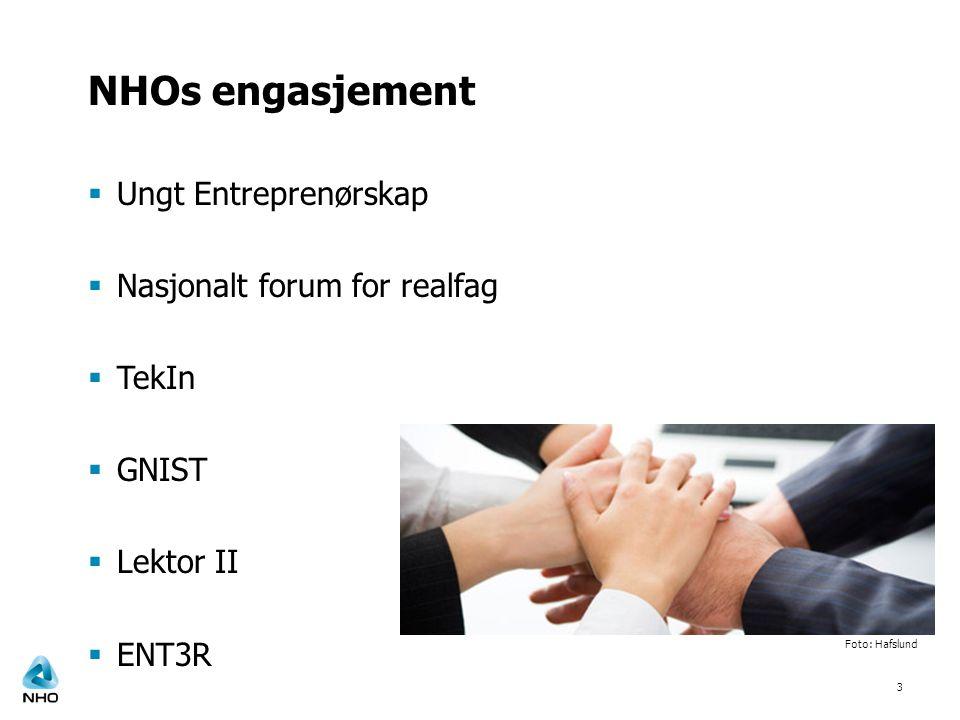 NHOs engasjement Ungt Entreprenørskap Nasjonalt forum for realfag