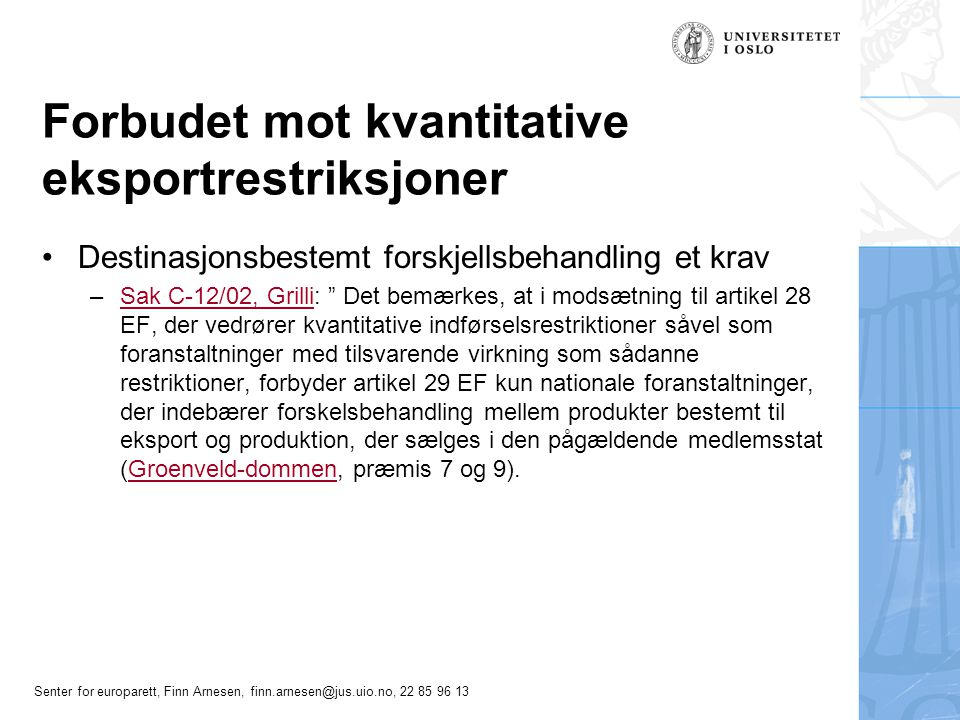 Forbudet mot kvantitative eksportrestriksjoner