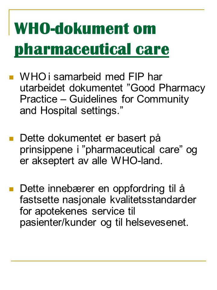 WHO-dokument om pharmaceutical care