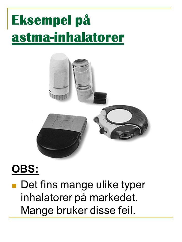 Eksempel på astma-inhalatorer
