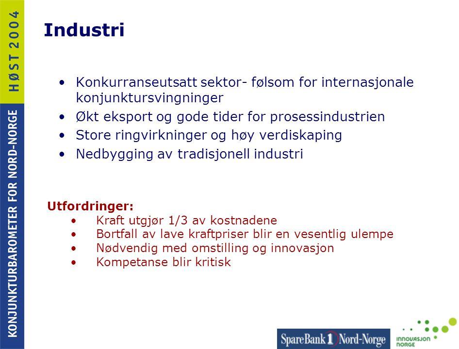 Industri Konkurranseutsatt sektor- følsom for internasjonale konjunktursvingninger. Økt eksport og gode tider for prosessindustrien.