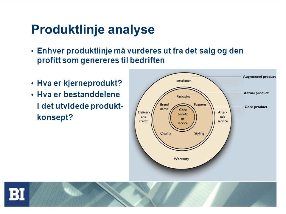 Produktlinje analyse Enhver produktlinje må vurderes ut fra det salg og den profitt som genereres til bedriften.