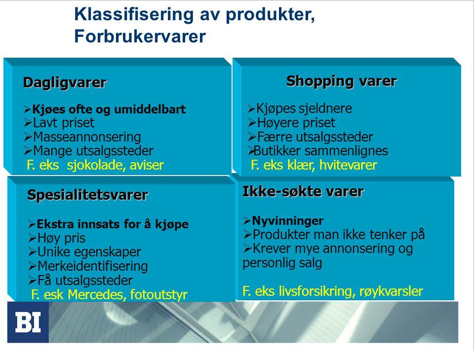 Klassifisering av produkter, Forbrukervarer