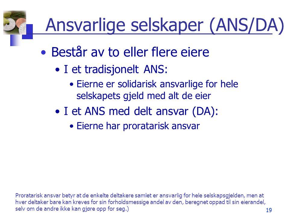 Ansvarlige selskaper (ANS/DA)