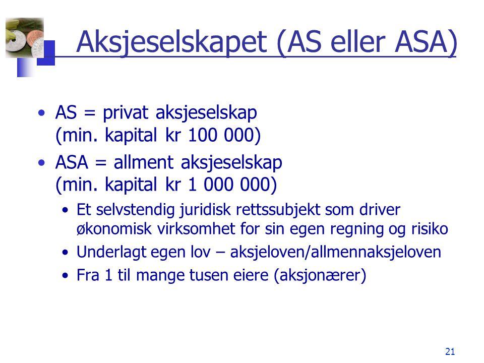 Aksjeselskapet (AS eller ASA)