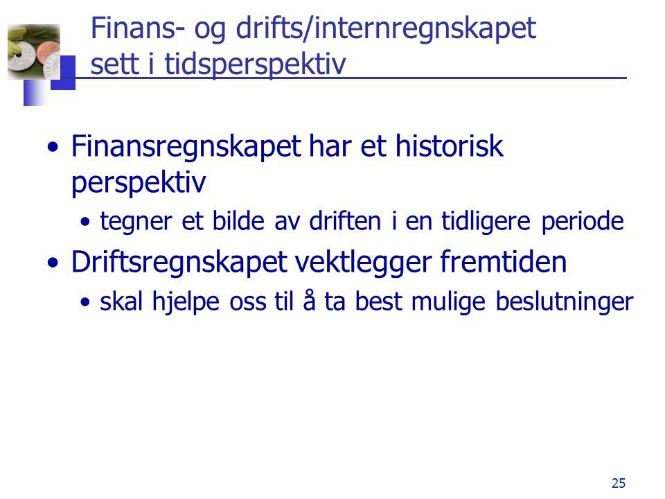 Finans- og drifts/internregnskapet sett i tidsperspektiv