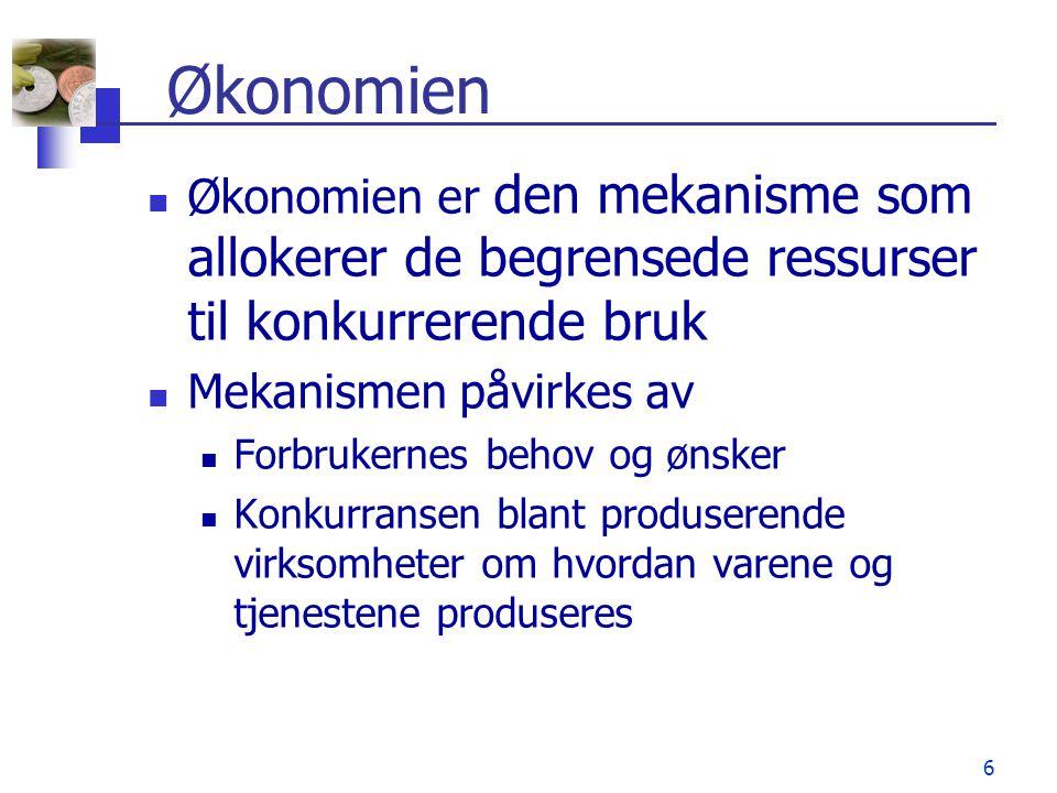 Økonomien Økonomien er den mekanisme som allokerer de begrensede ressurser til konkurrerende bruk. Mekanismen påvirkes av.