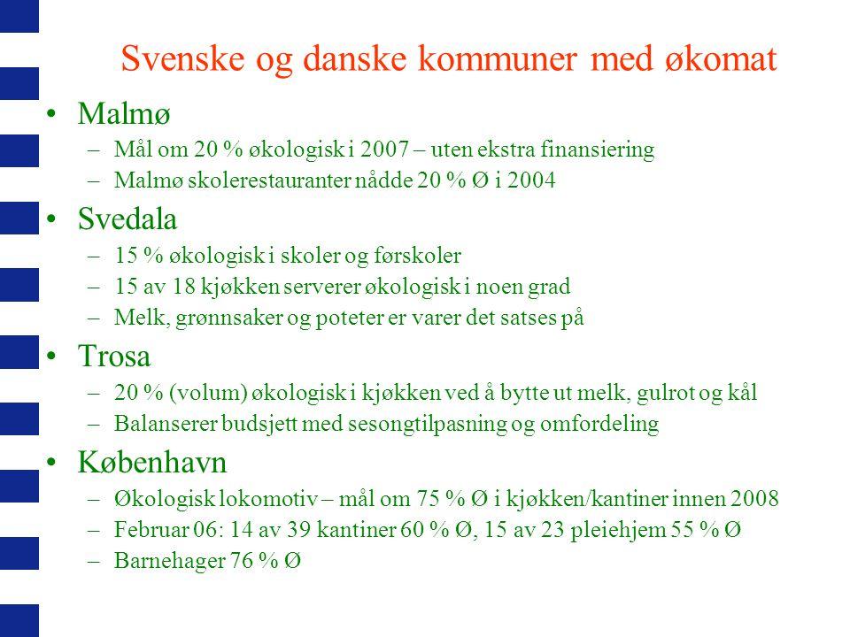 Svenske og danske kommuner med økomat